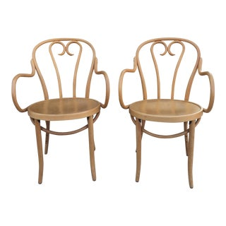 Blonde Bentwood Armchairs In The Style of Michael Thonet- A Pair