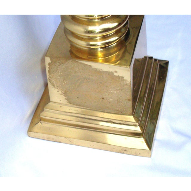 Hollywood Regency Brass Gold Greek Column Lamp - Image 10 of 11