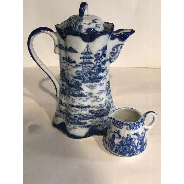 Image of Chinoiserie Blue & White Teapot & Creamer