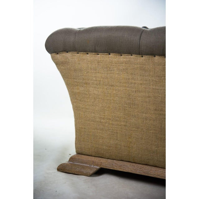 Webster Burlap Linen & Wood Large Tufted Ottoman - Image 9 of 11