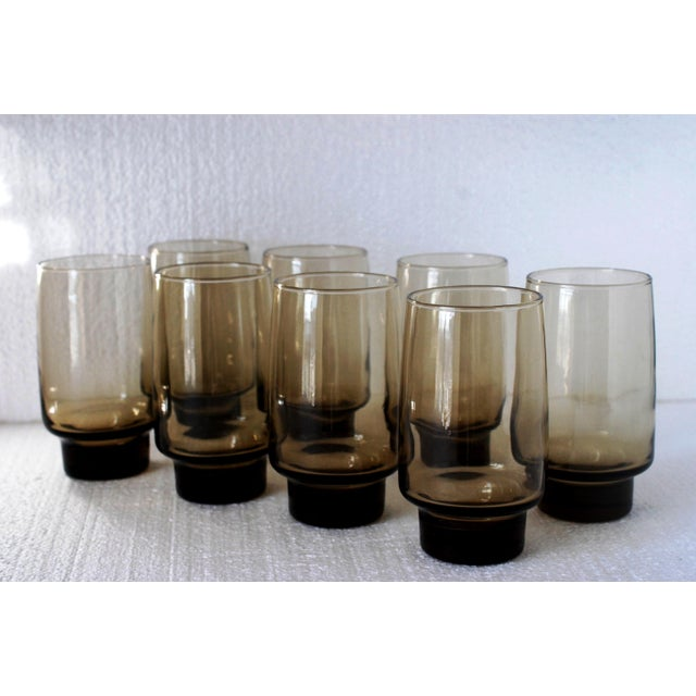 Image of Libbey Mid-Century Tawny Smoke Brown Glasses- Set of 8