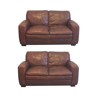 Brown Leather Loveseats - A Pair