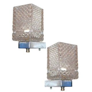 Two Pairs of Italian Cut Glass Sconces