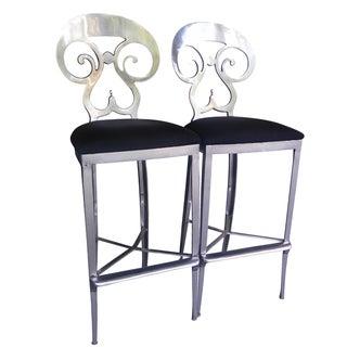 Aluminum Beidermeier Style Bar Stools - A Pair