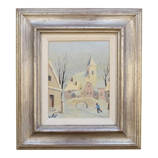 Mid-Century Alpine Village Oil Paining