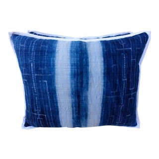 Custom Indigo Blue & White Batik Cotton Pillows – Pair