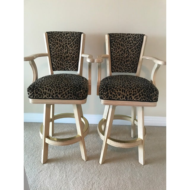 Leopard Print Swivel Bar Stools- A Pair - Image 2 of 6
