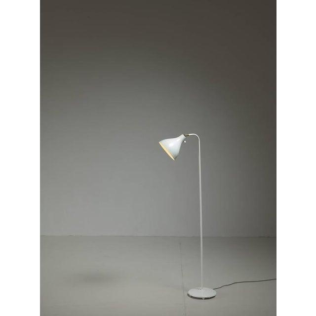 Jac Jacobsen White Metal Floor Lamp, Norway, 1950s - Image 2 of 4