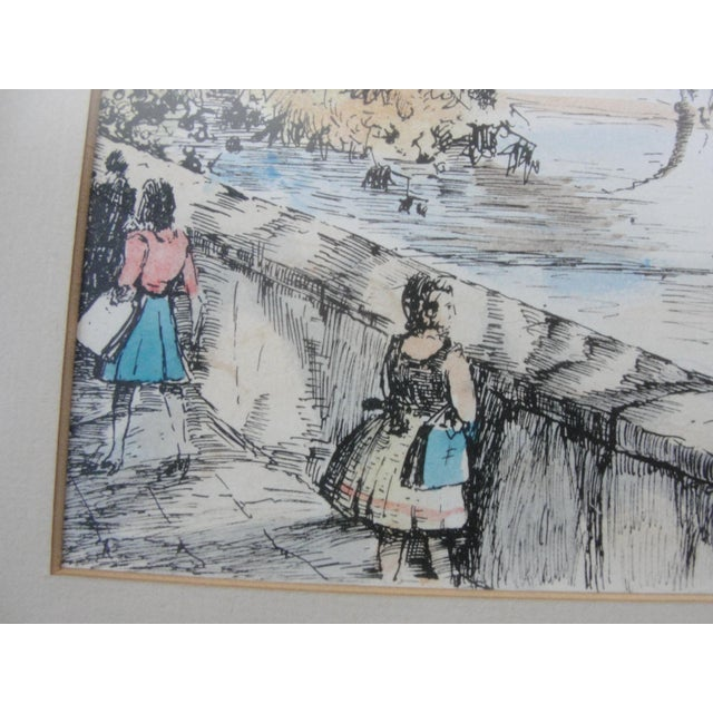 Mid-Century European Watercolor Painting - Image 4 of 7