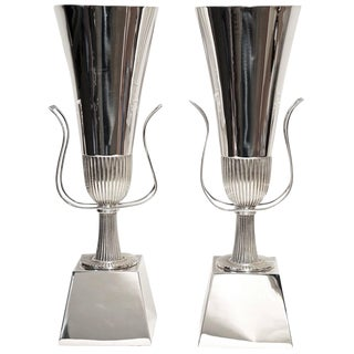 Pair of Tommi Parzinger Silver Plate Table Lamps for Lightolier