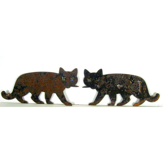 Image of Metal Black Cats with Marble Eyes - A Pair