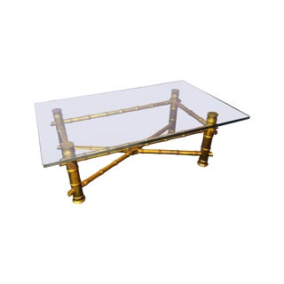 Hollywood Regency Gilt Faux Bamboo Coffee Table