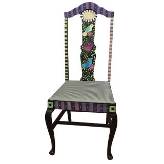 Whimsical Painted Chair with Birds