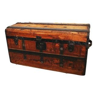 Vintage Victorian Wood Camelback Steamer Trunk