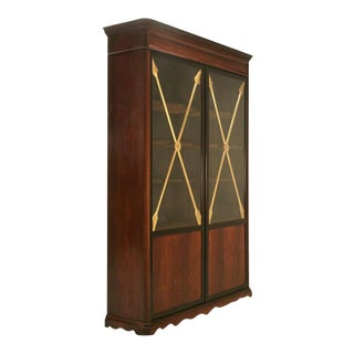 Antique French Crossed Gilt Arrow Directoire Glazed Cabinet