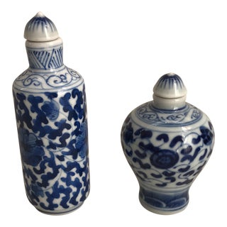 Chinese Blue & White Porcelain Painted Floral Bottles - A Pair