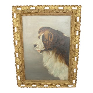 Antique St. Bernard Dog Oil Painting