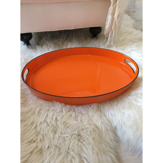 Orange Lacquer Oval Hermès Inspired Serving Tray - Image 8 of 11
