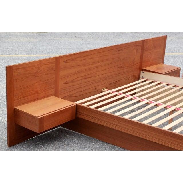 Danish Teak Queen Bed With Floating Nightstands - Image 7 of 11