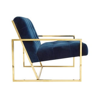 Pair of Crushed Blue Velvet Lounge Chair