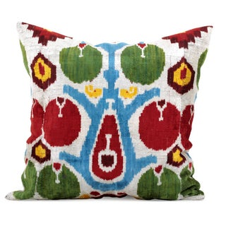 Boho Silk Velvet Ikat Pillow