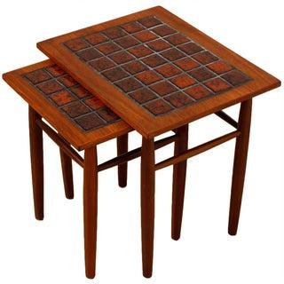 Danish Modern Teak & Tile Nesting Tables