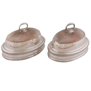 Pair of 19th Century English Silver Plated Meat Domes