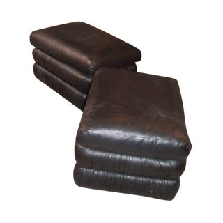 Black Leather Ottoman Stools - A Pair