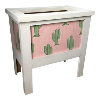 White, Pink & Green Cactus Themed Planter
