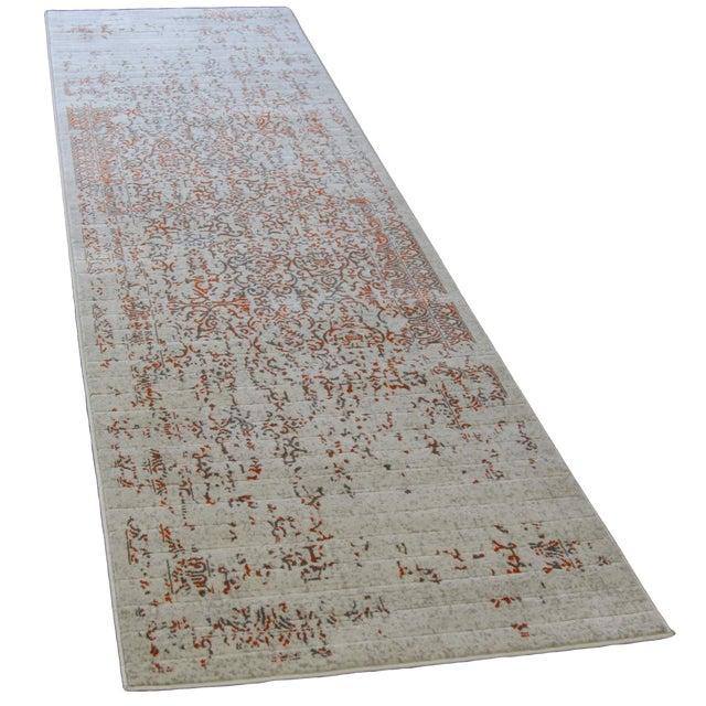 "Distressed Turkish Gray Orange Runner -- 2'10"" x 10' - Image 1 of 4"