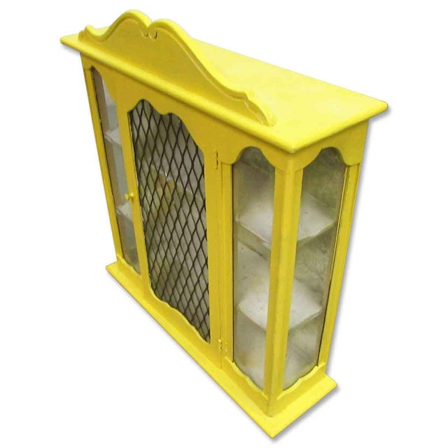 Yellow Painted Curio Cabinet - Image 6 of 8
