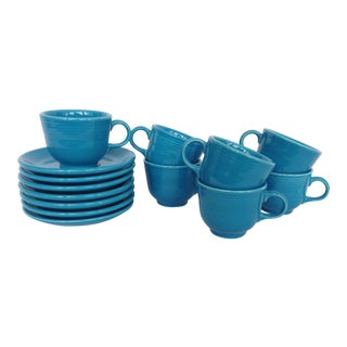Fiesta Ware Tea Cups & Saucers - Set of 7