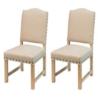 Sarreid Ltd Rudy Beige Linen Side Chairs - A Pair