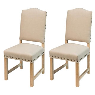 Sarreid Ltd Rudy Beige Linen Side Chairs - A Pair