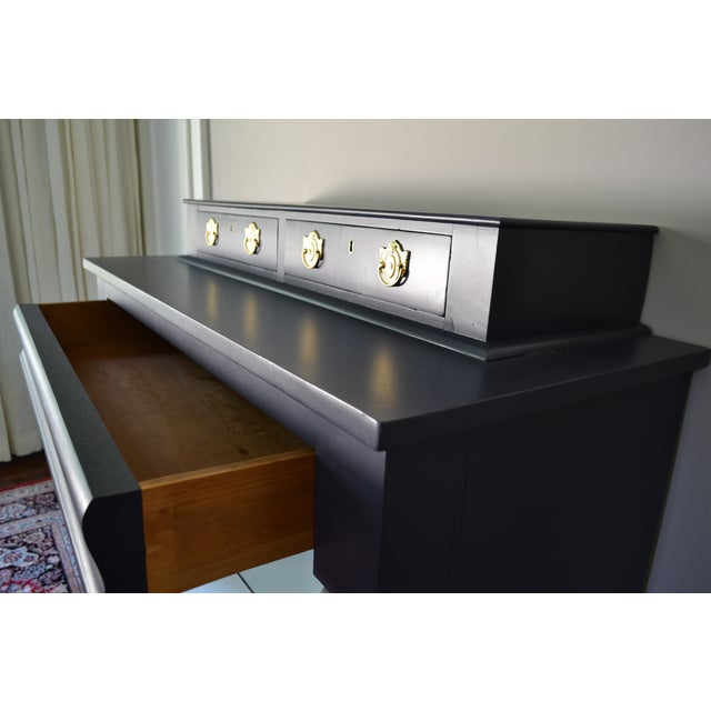 Antique Empire Buffet Bar in Navy Blue & White - Image 7 of 8