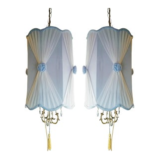 Hollywood Regency Light Blue Velvet Swag Lamps - A Pair