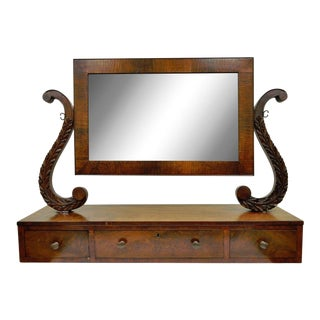 19th C. American Empire Carved Mahogany Shaving Vanity Cheval Dresser Mirror