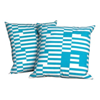 Blue & White Silkscreened Canvas Pillows - A Pair