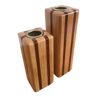 Mid-Century Wooden Candle Holders - A Pair