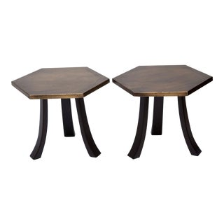 Pair of Harvey Probber Walnut and Etched Brass End Tables