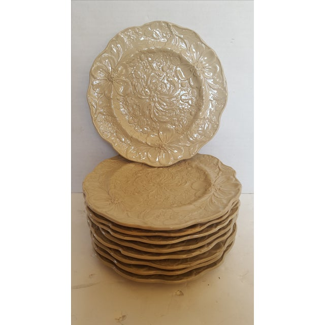 Image of Creamware Floral Plates - Set of 9