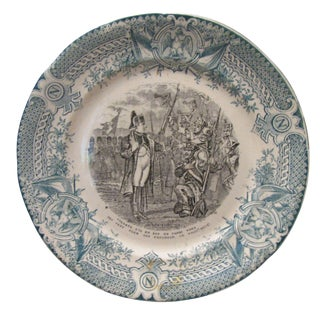Antique Green Napoleon Transferware Plate