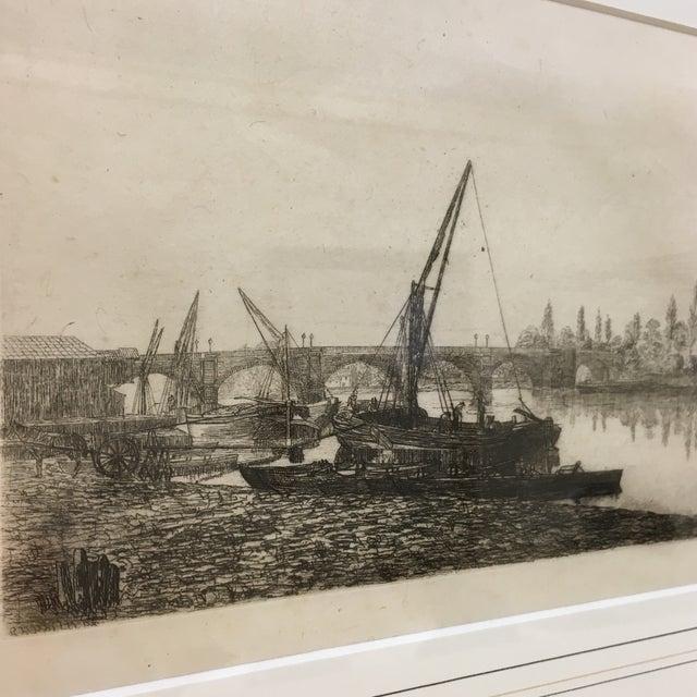Image of Vintage Framed Riverside Fishing Boat Etching