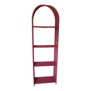 Pink Wicker Bookcase