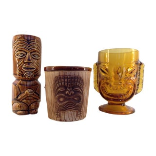Mid-Century Tiki Mugs - Set of 3