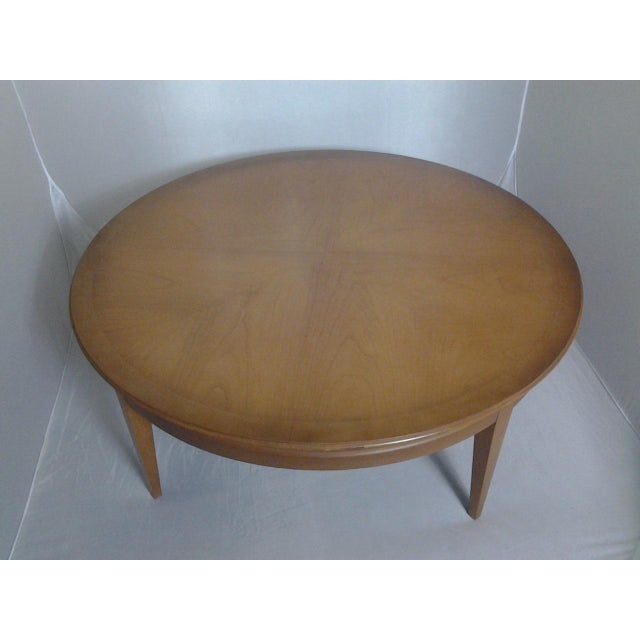 mid century round cherry coffee table sold chairish. Black Bedroom Furniture Sets. Home Design Ideas