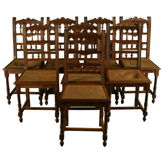 Antique French Renaissance Henry II Oak Chairs - 8 - Image 1 of 8