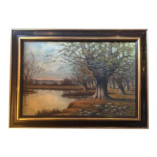 A Framed Oil On Canvas Painting or a Lake Landscape Signed and Dated 1910