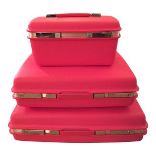 Vintage Hot Pink Samsonite Saturn Luggage - Set of 3
