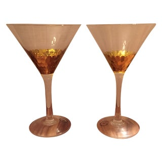 Gold Scallop Martini Glasses - A Pair